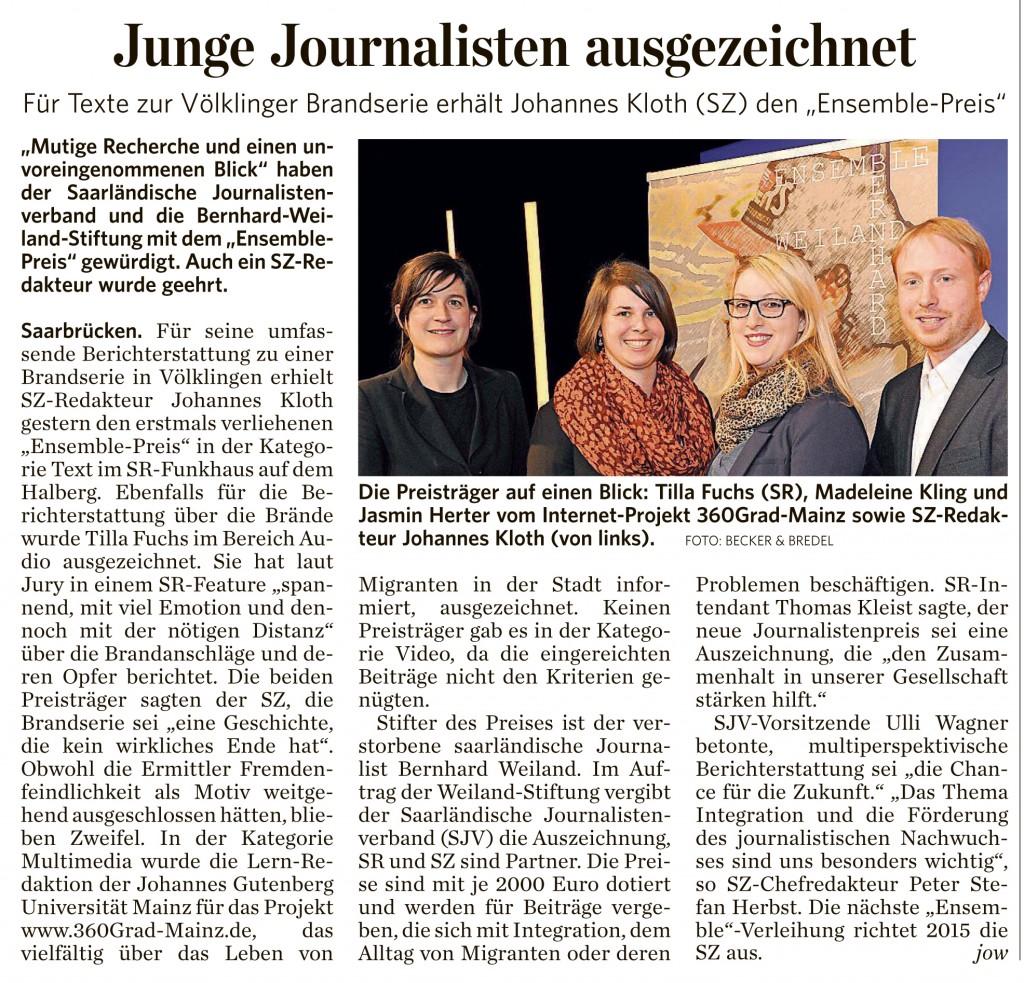 Saarbrücker Zeitung, 08.03.2013